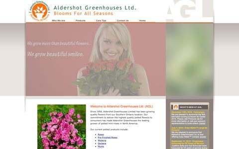 Screenshot of Home Page aldershotgreenhouses.com - Aldershot Greenhouses Limited - Blooms for All Seasons - captured Feb. 5, 2016