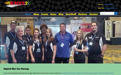 Screenshot of Home Page races2u.com - Rent Digital Slot Car Race tracks for parties and events - captured Jan. 12, 2016