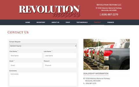 Screenshot of Contact Page revolution-motors.net - Contact Revolution Motors LLC Dealership Wentzville MO 63385 - captured Dec. 19, 2016
