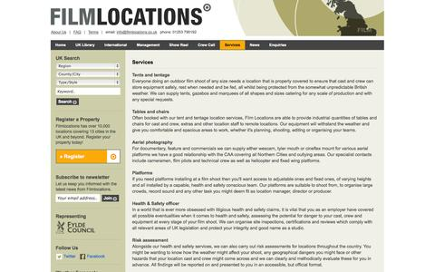 Screenshot of Services Page filmlocations.co.uk - Services - captured Sept. 30, 2014