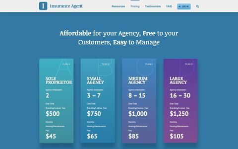 Screenshot of Pricing Page goinsuranceagent.com - Insurance Mobile App - Pricing - captured Feb. 11, 2016