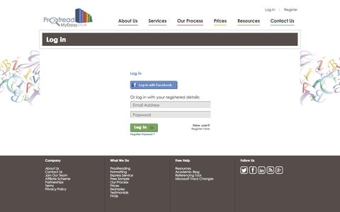 Screenshot of Login Page proofreadmyessay.co.uk - Login  to your account at Proofread My Essay - captured Sept. 23, 2014
