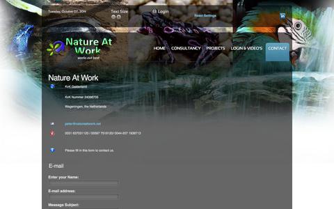 Screenshot of Contact Page natureatwork.net - Nature At Work - captured Oct. 7, 2014