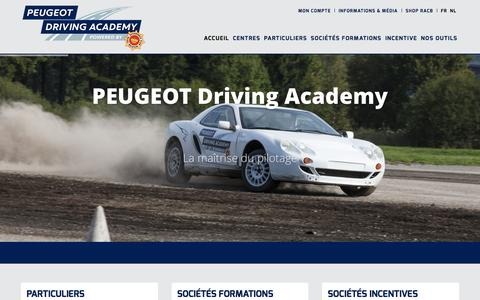 Screenshot of Home Page peugeot-driving-academy.be - PEUGEOT DRIVING ACADEMY - captured June 25, 2016