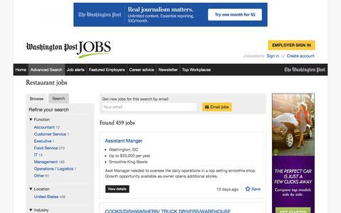 Screenshot of Jobs Page washingtonpost.com - Restaurant jobs - captured Sept. 22, 2017