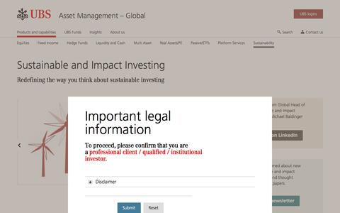 Screenshot of Team Page ubs.com - Sustainable and Impact Investing | UBS Global topics - captured Nov. 14, 2019