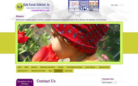 Screenshot of Contact Page ipulidaho.org - Contact Us - captured Oct. 1, 2014