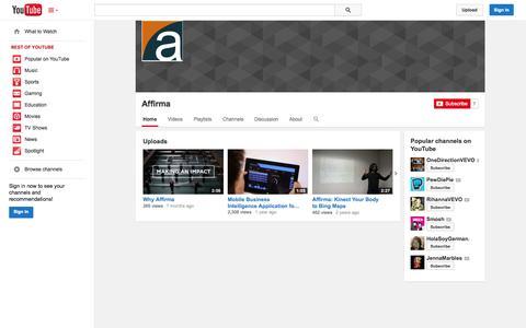 Screenshot of YouTube Page youtube.com - Affirma  - YouTube - captured Oct. 23, 2014