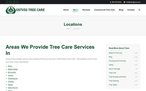 Screenshot of Locations Page ostvigtree.com - Locations/Service Areas - Ostvig Tree Care, Minessota - captured Oct. 18, 2018