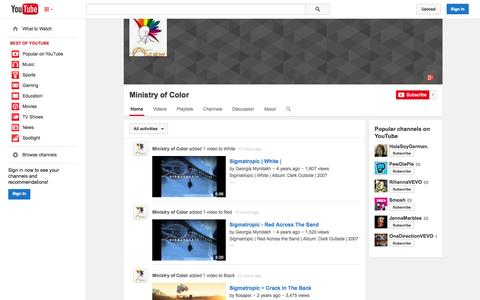 Screenshot of YouTube Page youtube.com - Ministry of Color  - YouTube - captured Oct. 24, 2014