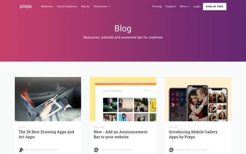 Screenshot of Blog pixpa.com - Resources, Guides & Inspiration for Creatives - The Pixpa Blog - captured March 20, 2019