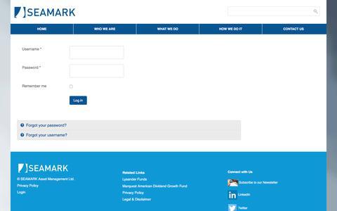 Screenshot of Login Page seamark.ca - Login - SEAMARK Asset Management Ltd - captured Sept. 29, 2017