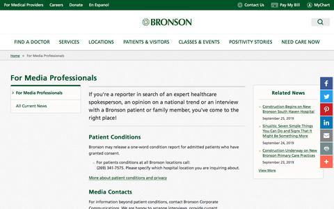 Screenshot of Press Page bronsonhealth.com - For Media Professionals - Bronson Healthcare - captured Sept. 26, 2019