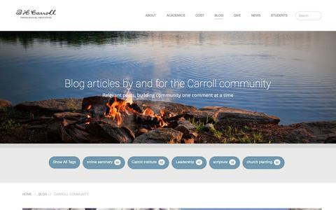 Screenshot of Blog bhcarroll.edu - Blog - B. H. Carroll Theological Institute - captured Nov. 10, 2018