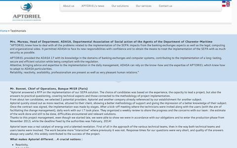 Screenshot of Testimonials Page aptoriel.fr - Testimonials - APTORIEL - captured July 23, 2016
