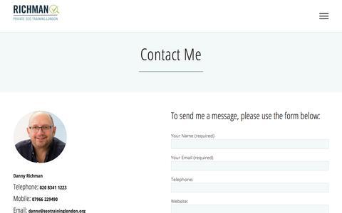Screenshot of Contact Page seotraininglondon.org - Contact Me - Richman SEO Training - captured July 8, 2018