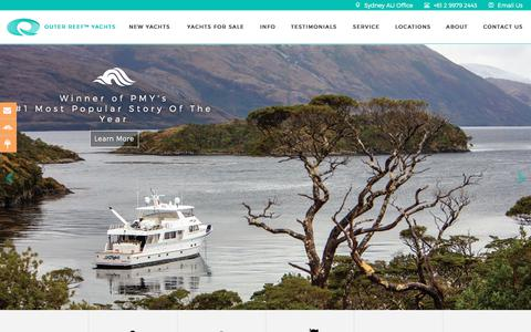 Screenshot of Home Page outerreefyachts.com - Outer Reef Yachts | Global Long Range Yacht Builder - captured Sept. 21, 2018