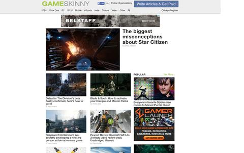 Screenshot of Home Page gameskinny.com - Video Game News, Cheats, Guides, Walkthroughs, Videos, Reviews & Culture - captured Jan. 15, 2016