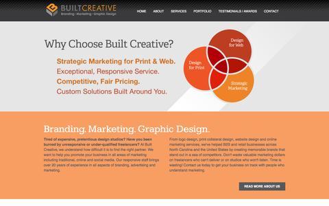 Screenshot of Home Page builtcreative.com - Built Creative - Logo Design, Print Collateral, Website Design, SEO, Search Engine Marketing and Social Media Marketing. - captured Sept. 30, 2014