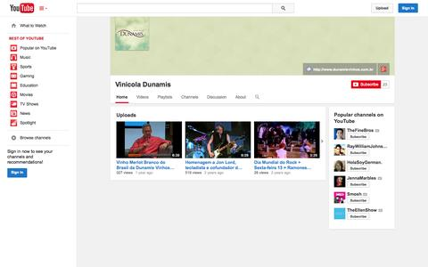 Screenshot of YouTube Page youtube.com - Vinicola Dunamis  - YouTube - captured Oct. 23, 2014