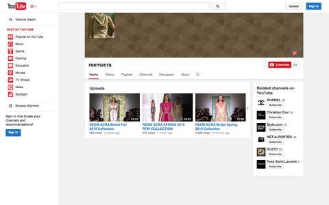 Screenshot of YouTube Page youtube.com - reemacra  - YouTube - captured Oct. 26, 2014