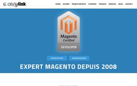 Screenshot of Home Page crazy-link.com - Crazy-link - Développeur Magento / Prestashop - captured March 21, 2017