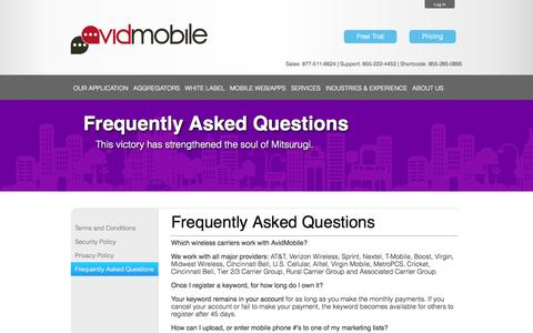 Screenshot of FAQ Page avidmobile.com - AvidMobile | Mobile Marketing FAQ - captured Sept. 23, 2014