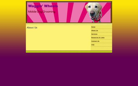 Screenshot of About Page wagginwheelsmobilegrooming.com - mobile dog grooming, Waggin' Wheels Mobile Dog Grooming Eugene, OR Eugene, OR About Us - captured Oct. 7, 2014