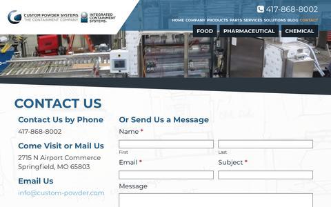 Screenshot of Contact Page custom-powder.com - Contact Us | Custom Powder Systems - captured Sept. 30, 2018