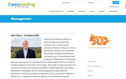 Screenshot of Team Page openlending.com - Management – Open Lending - captured May 20, 2018