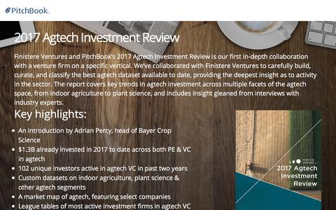 Screenshot of Landing Page pitchbook.com - Finistere Ventures & PitchBook 2017 Agtech Investment Review - captured Oct. 25, 2017