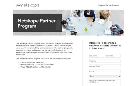Screenshot of Landing Page netskope.com - Contact Us - Netskope - captured Aug. 19, 2016