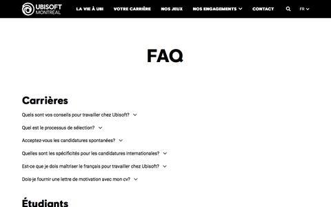 Screenshot of FAQ Page ubisoft.com - FAQ - Ubisoft Montréal - captured Nov. 8, 2019
