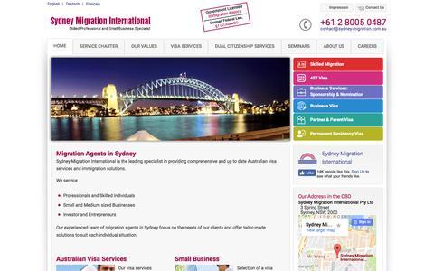 Screenshot of Home Page sydney-migration.com.au - Migration Agents in Sydney - Sydney Migration International - captured Nov. 21, 2016