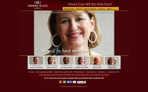Screenshot of Testimonials Page crowneknox.com - Testimonials – Crowne Plaza Knoxville, Tennessee - captured Oct. 3, 2014