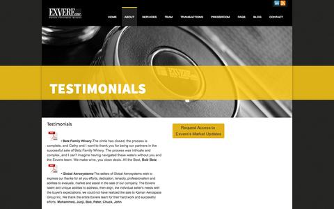 Screenshot of Testimonials Page exvere.com - Testimonials of clients with | Exvere - captured Sept. 30, 2014