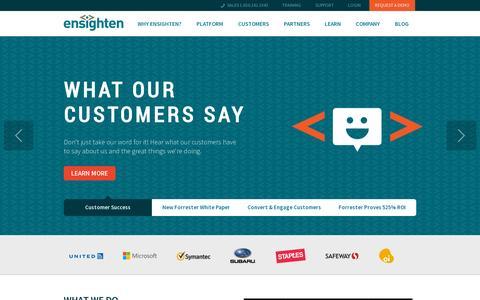 Screenshot of Home Page ensighten.com - Ensighten | Enterprise Tag Management System - captured July 11, 2014