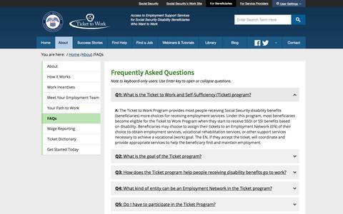 Screenshot of FAQ Page ssa.gov - Ticket to Work FAQs - captured Dec. 5, 2017