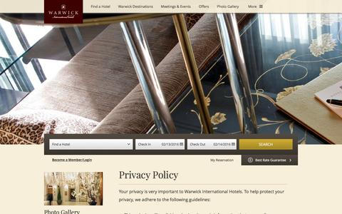 Screenshot of Privacy Page warwickhotels.com - Privacy Policy - Warwick International Hotels - Luxury 4 & 5 Star Hotels & Resorts - captured Feb. 13, 2016
