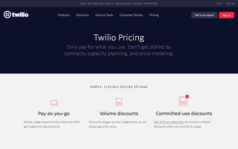 Screenshot of Pricing Page twilio.com - Twilio Pricing - Usage-based pricing, with volume and committed-use discounts - captured Nov. 30, 2017