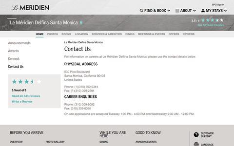 Screenshot of Contact Page starwoodhotels.com - Contact Us | Le Méridien Delfina Santa Monica - captured Sept. 26, 2016