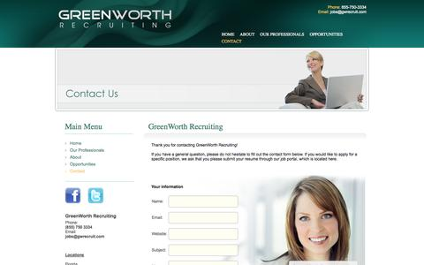 Screenshot of Contact Page greenworthrecruiting.com - Contact GreenWorth Recruiting - captured Oct. 3, 2014