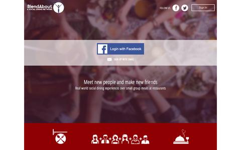 Screenshot of Home Page blendabout.com - Make New Friends over Group Meals at Restaurants � BlendAbout: A Social Dining Network - captured Jan. 5, 2016
