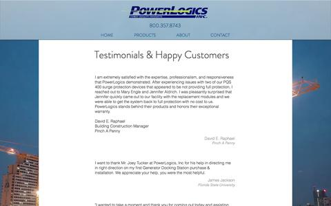 Screenshot of Testimonials Page powerlogics.com - PowerLogics | Power Quality Products | Surge Protection | TESTIMONIALS - captured Sept. 27, 2016