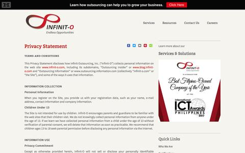 Infinit Outsourcing: Privacy Statement   BPO Company