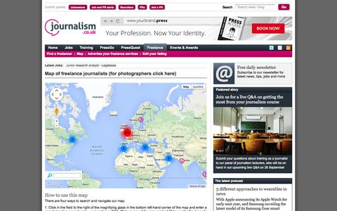 Screenshot of Maps & Directions Page journalism.co.uk - Map of freelance journalists, freelance journalist directory - captured Sept. 18, 2014