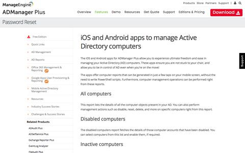 Mobile app for Active Directory computer management and reporting