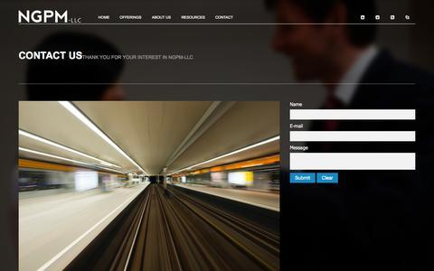 Screenshot of Contact Page ngpm-llc.com - Contact Us - captured Oct. 9, 2014