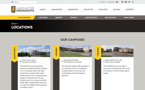 Screenshot of Locations Page lancastermennonite.org - Locations ‹ About – Lancaster Mennonite - captured July 14, 2017