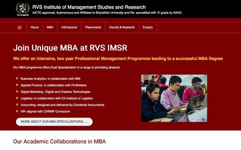 Screenshot of Home Page rvsimsr.ac.in - RVS Institute of management studies and research - captured Feb. 15, 2016
